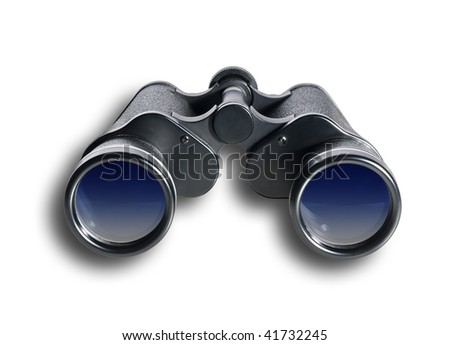 Binoculars on white with shadow and clipping path