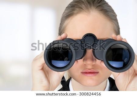 Binoculars, Surveillance, Looking. - stock photo