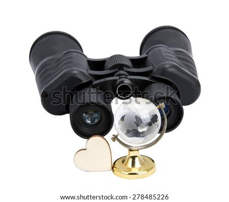 binoculars with the globe with white background - stock photo