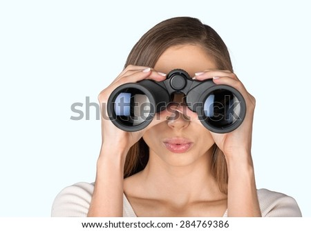 Binoculars, Women, Peeking. - stock photo
