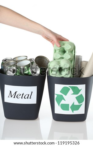 Bins for metal and paper rubbish, isolated - stock photo