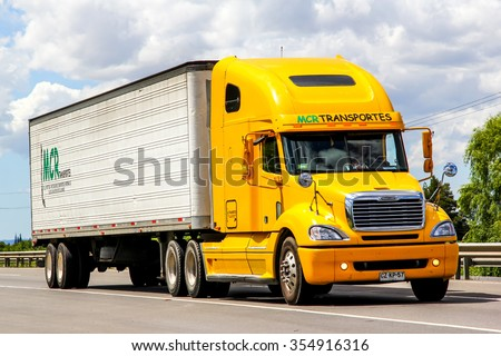 BIO-BIO, CHILE - NOVEMBER 23, 2015: Cargo truck Freightliner Columbia at the interurban freeway. - stock photo