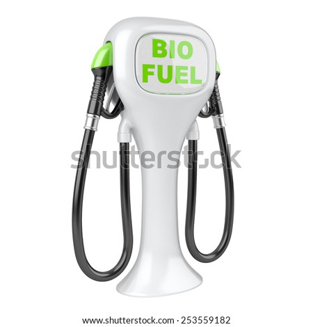 Bio fuel concept with petrol pump machine. Isolated 3d image.