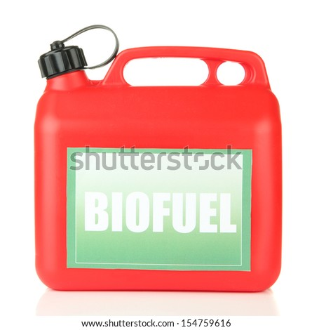 Bio fuels in canister isolated on white