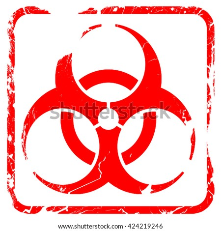 Bio hazard sign on a grunge background, red rubber stamp with gr - stock photo