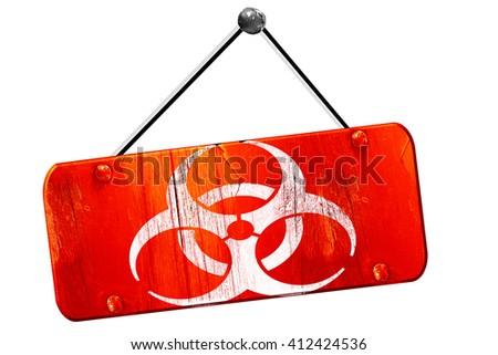Bio hazard sign on a grunge , 3D rendering, vintage old red sign - stock photo