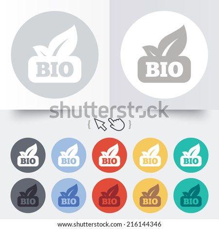 Bio product sign icon. Leaf symbol. Round 12 circle buttons. Shadow. Hand cursor pointer. - stock photo