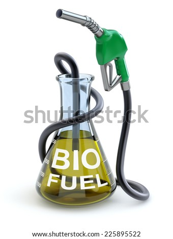 Biofuel concept - 3D concept with erlenmeyer flask and gas nozzle - stock photo
