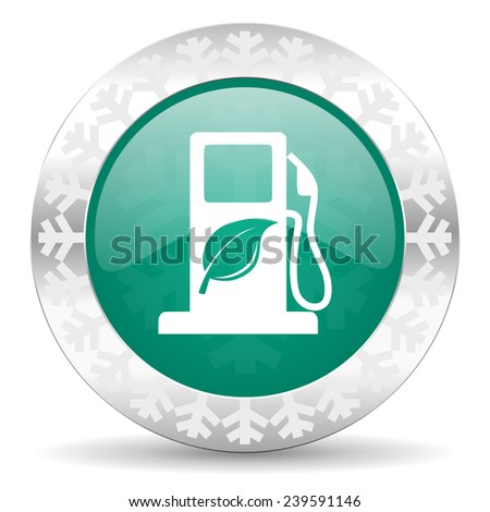 biofuel green icon, christmas button, bio fuel sign  - stock photo