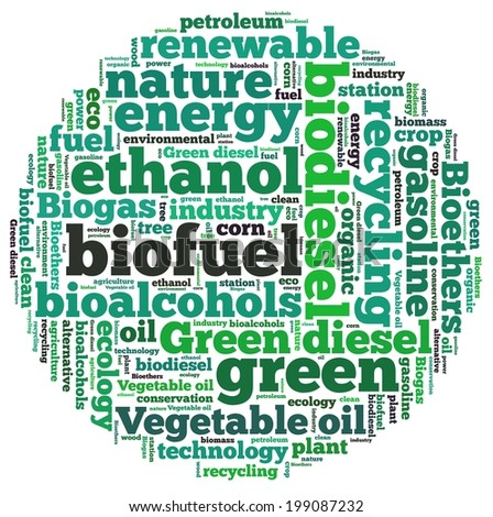 Biofuel in word collage - stock photo