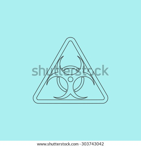Biohazard. Outline simple flat icon isolated on blue background - stock photo