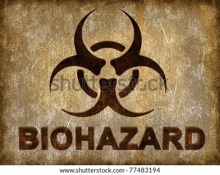 Biohazard sign on grunge background - stock photo