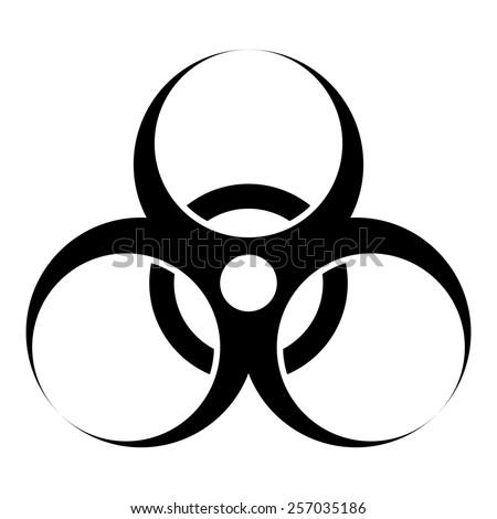 biohazard warning sign or logo on white  - stock photo