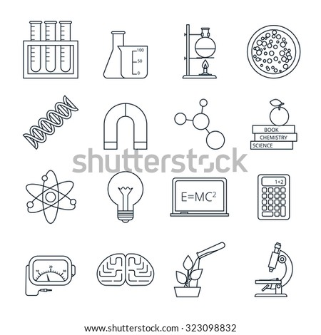 Biology chemistry experimental science lab research outlined icons set with molecule atom model abstract isolated  illustration