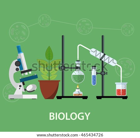 Biology laboratory workspace and science equipment , microscope, conceptual Scientific research. illustration in flat design Raster version.