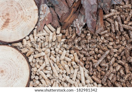 Biomass- pine pellets and materials pellets made of - stock photo