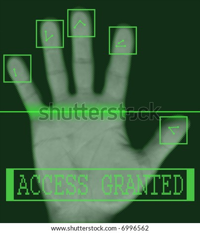 Biometric palm scanning screen with access granted text - stock photo