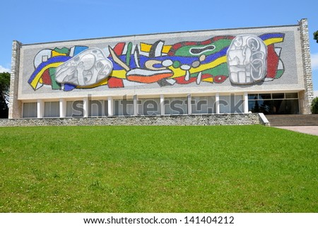 BIOT, FRANCE-JUNE 07: Fernand Leger museum facade shown in june 07, 2013 in Biot French Riviera. The  museum possesses a wide collection of paintings and ceramics of this major artist of modern art. - stock photo