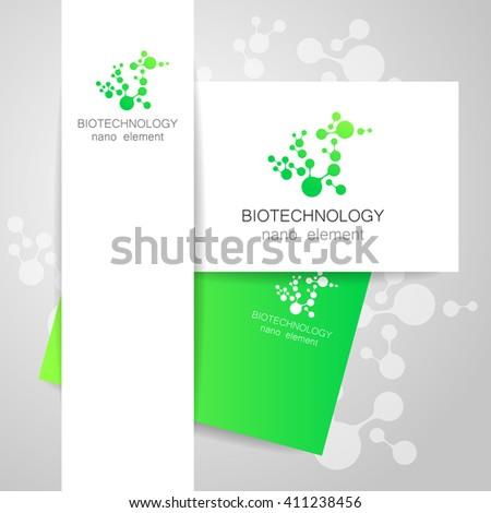 Biotechnology. Symbol molecule. Logo. Nanotechnology development. Presentation of corporate identity for the medical industry, science, modern technologies.   - stock photo