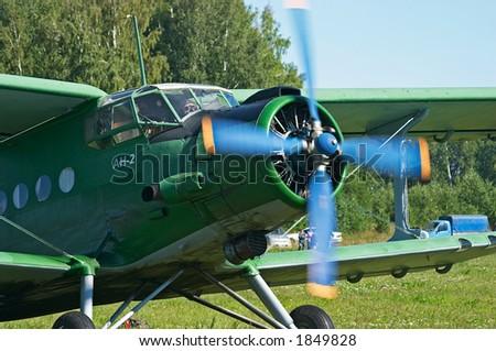 Biplane An-2 (Antonov) in the airshow. Mochishe aerodrome, Novosibirsk - stock photo