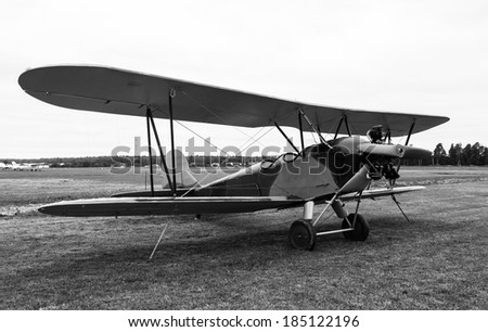 biplane Polikarpov Po-2 on ground, the aircraft  WW2 - stock photo