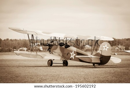 biplane Polikarpov Po-2 on the ground, the aircraft  WW2 - stock photo