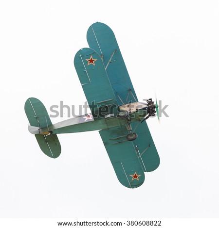 biplane the aircraft  WW2 - stock photo