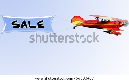 Biplane towing a sale sign - stock photo
