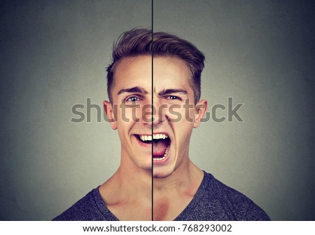 Bipolar disorder concept. Young man with double face expression isolated on gray background