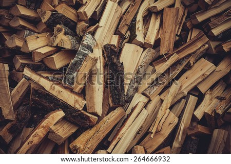 Birch firewood. woodpile. vintage texture background - stock photo
