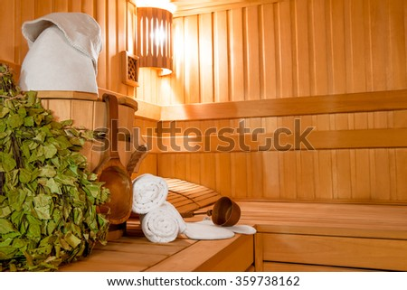 birch twigs, and other accessories for sauna - stock photo