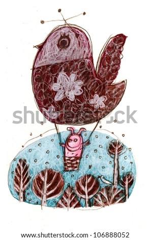 Bird balloon - stock photo