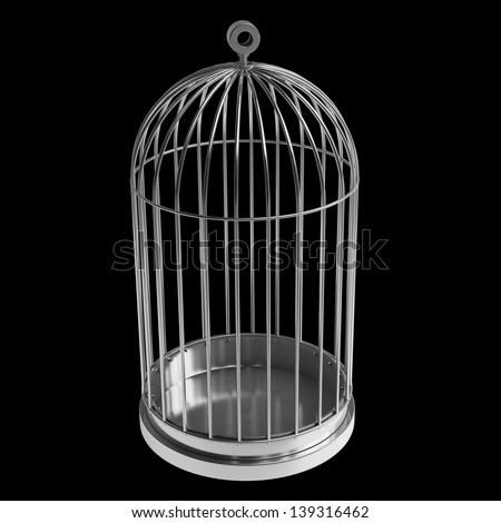 Bird cage isolated on black background High resolution 3d - stock photo