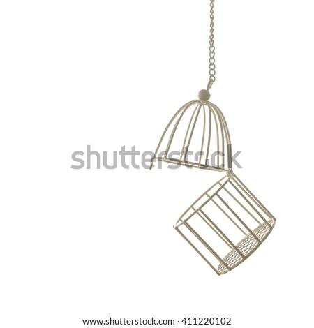 bird cage isolated on white - stock photo