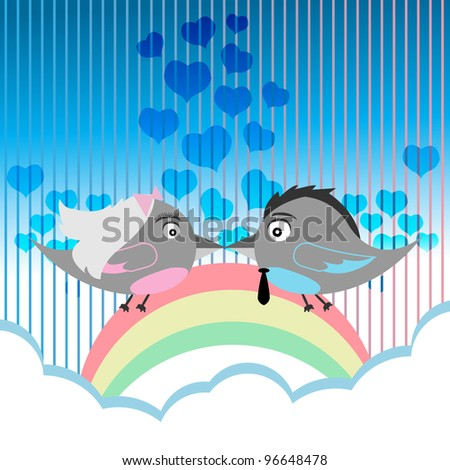 Bird Couple Kiss - Vector Version Is Also Available