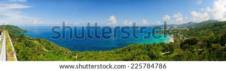 Bird-eye panorama of Phuket coastline on sunny day - stock photo