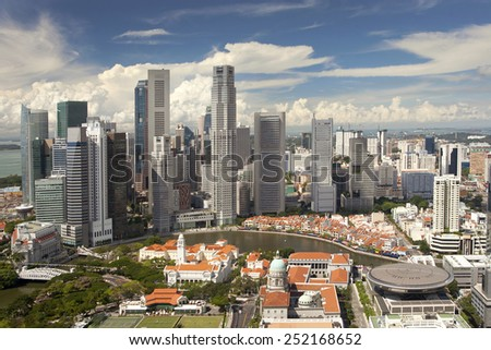 Bird eye view of business district of Singapore on sunny day - stock photo