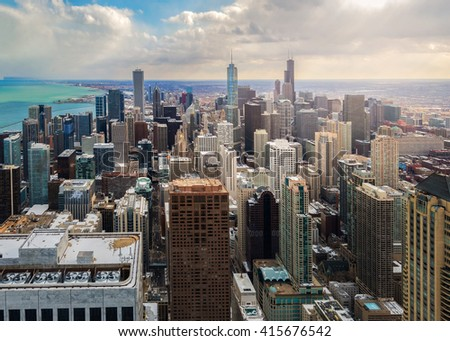 Bird eye view of Chicago city  - stock photo