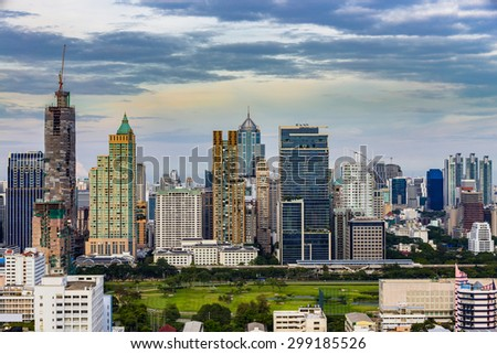 Bird eye view of cities building with blue sky clouds in the evening in Bangkok, Thailand