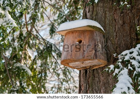 Bird house. Booth breeding on tree. - stock photo