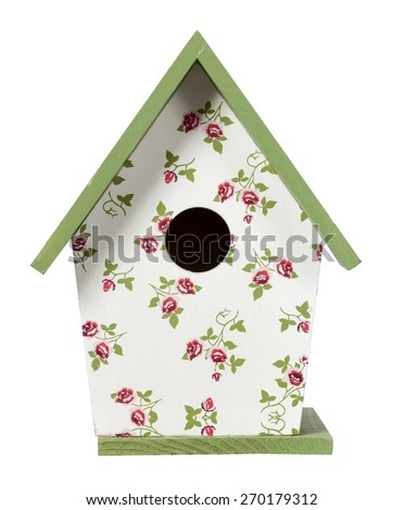 Bird house isolated on white with clipping path - stock photo