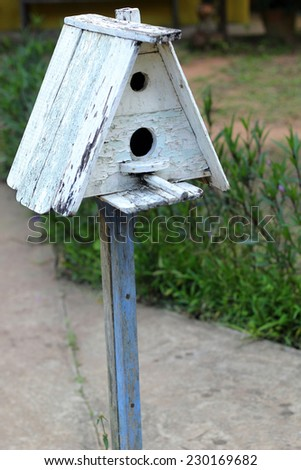 Bird house with the nature - stock photo
