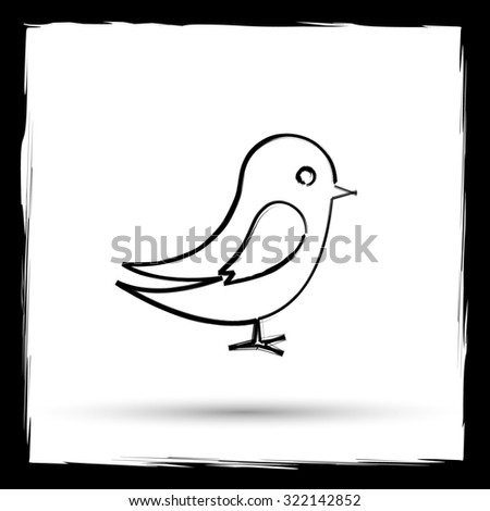 Bird icon. Internet button on white background. Outline design imitating paintbrush.