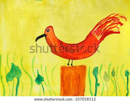 Bird  in a multi-colored childrens drawings - stock photo