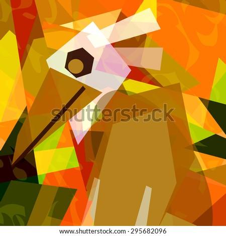 Bird in cubism - stock photo