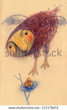 Bird nest - stock photo