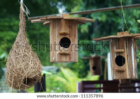 bird nest and bird house. - stock photo