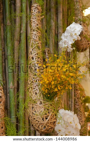 Bird nest and orcid flower - stock photo