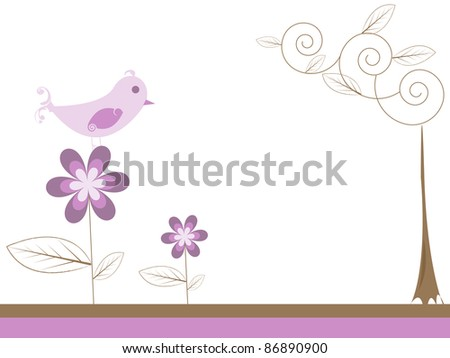 bird on a flower - stock photo