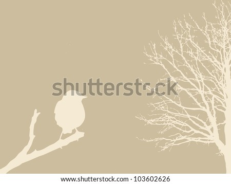 bird on branch on brown background - stock photo